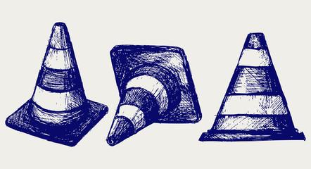 Traffic cones. Vector sketch