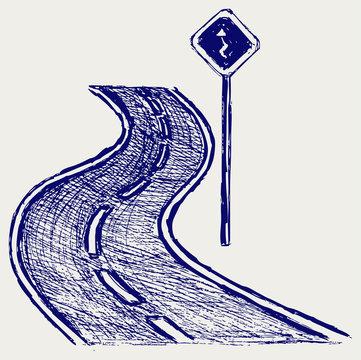 Curve road. Sketch