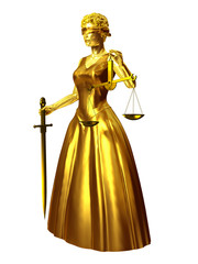 Justitia, golden statue symbol of justice and law