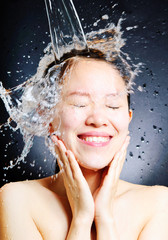 young beautiful attractive woman taking shower