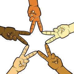 Hands in Peace Sign Forming a Star on White Background