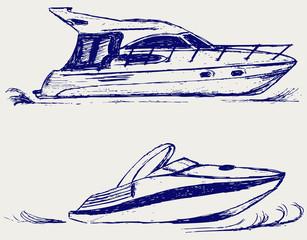 Luxury yacht. Vector sketch