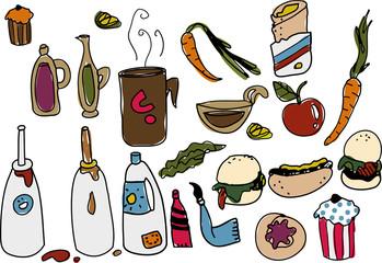 Illustration Junk VS Healthy Food