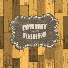 Wild west background on seamless wooden texture. Vector illustra