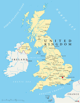 United Kingdom political map with capital London, national borders, most important cities, rivers and lakes. Country in Europe. Illustration with English labeling on white background. Vector.