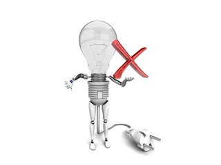 """The robot """"bulb"""" Holds in a hand """"no"""" sign and show """"bad"""""""