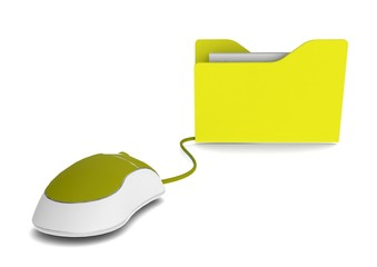 Yellow file with mouse