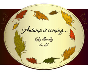 Vintage autumn label with cane.