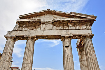 grèce; Athènes : colonnes antiques