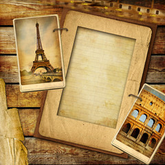 Fototapete - vintage background with blank frame