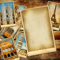 Fototapete - vintage travel background with blank page