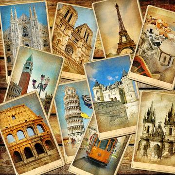 vintage travel collage background