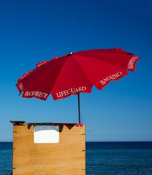 Lifeguard beach umbrella