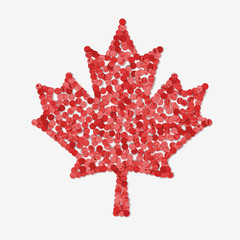 maple leaf made by recycled paper punches
