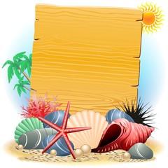 Cartellone Legno con Conchiglie-Wooden Panel wih Seashells