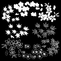 White vector flowers patterns on a black background