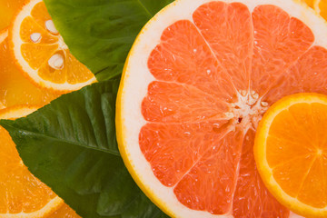Ripe oranges and tangerines background