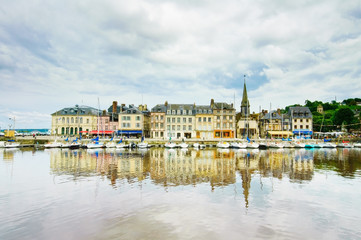 Honfleur skyline and harbor with reflection. Normandy, France Fototapete