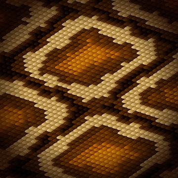 Python snake skin brown background. Vector illustration.
