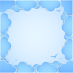 Frame made of clouds. Abstract Background. Summer theme