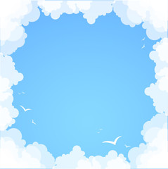 Fotorollo Himmel Frame made of clouds. Abstract Background. Summer theme
