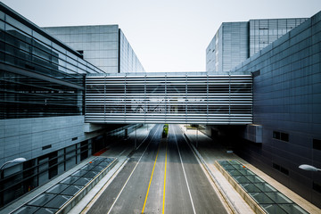 road go through the modern office building
