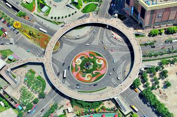 Shanghai street aerial view