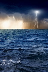 Fototapete - Lightning, sea