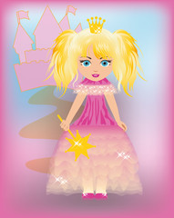 Little princess in a pink dress, vector illustration