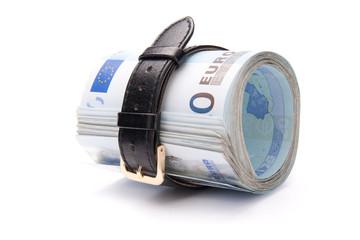 Money concept - tighten belt