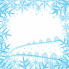 Christmas background with snowflakes and  trees
