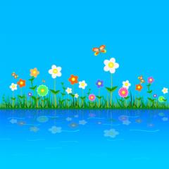 flower vector illustration on a blue