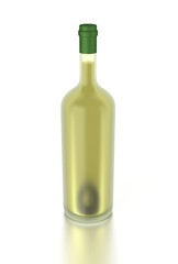 3d white wine bottle filled with white wine