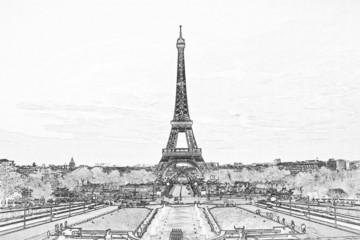 Foto op Canvas Illustratie Parijs filter effect photo of Eiffel tower