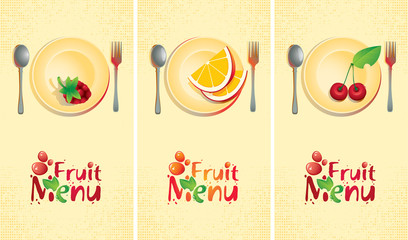 fruit set of banners for the menu