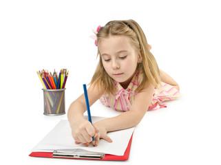Little girl writing on white