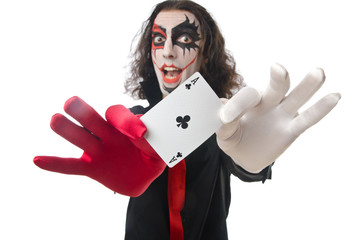 Joker with cards isolated on white
