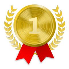 Medaille Gold mit Ziffer 1