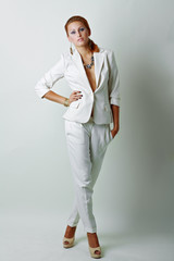 sexy woman wearing white suit