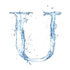 "Water splashes letter ""U"" isolated on white background"