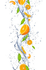 Poster Eclaboussures d eau Fresh oranges falling in water splash