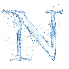 "Water splashes letter ""N"" isolated on white background"