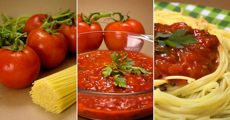 pasta and tomatoes collage
