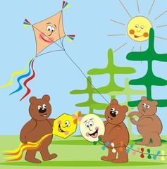 Wall Murals Bears bears and kites