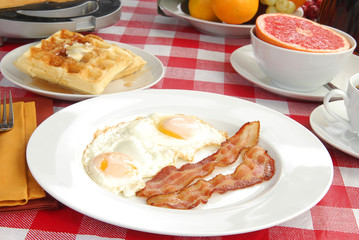 bacon and eggs with waffles