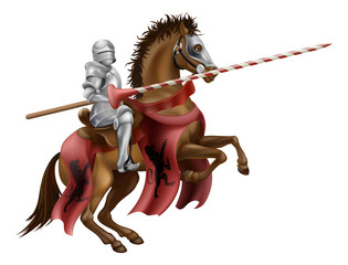 Canvas Prints Knights Knight with lance on horse