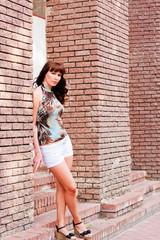 beautiful woman at the wall