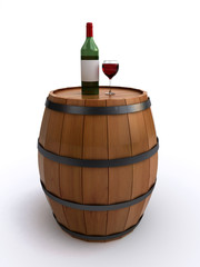 wine barrel with a bottle and glass of red wine