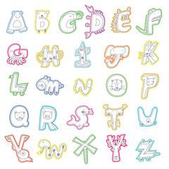 Cartoon alphabet, animal model