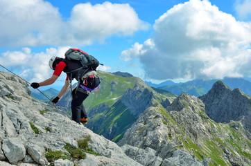 Poster de jardin Alpinisme Abstieg an Klettersteig